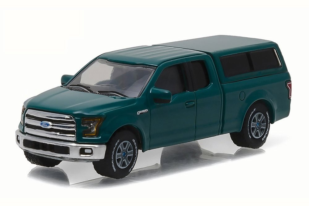 2015 Ford F 150 with Camper Shell Green Gem Country Roads Series 15 1 64 Model Car by Greenlight