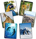 New Generation - Wild Life - 1 Subject 70 Sheets 8'' x 10.5'' Wirebound Spiral Notebook, 6 PACK,WIDE Ruled, Heavy Duty covers,3 Hole Punch Perforated sheets, (6 PACK SPIRAL NOTEBOOK) (WILD LIFE)