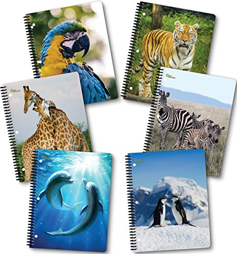 New Generation - Wild Life - 1 Subject 70 Sheets 8'' x 10.5'' Wirebound Spiral Notebook, 6 PACK,WIDE Ruled, Heavy Duty covers,3 Hole Punch Perforated sheets, (6 PACK SPIRAL NOTEBOOK) (WILD LIFE) by New Generation
