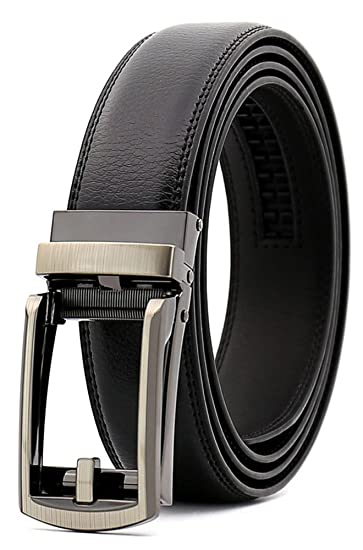 "15761081f8f4 Image Unavailable. Image not available for. Color: Fandicto Mens Genuine  Leather Ratchet Belt 1 1/8"" Wide with Sliding Buckle Dress"