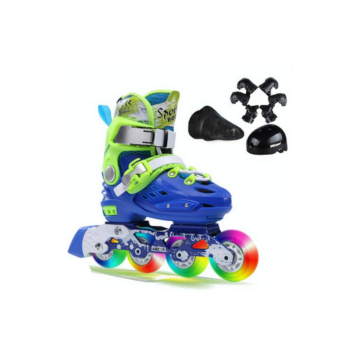 Hengxiang Fitness Inline Skates, Children's Skates, High Elastic Eight Wheels Of Full Flash, High Density Aluminum Alloy Bracket, Full Protective Gear, Inline Skates Make Your Baby's Childhood Richer,