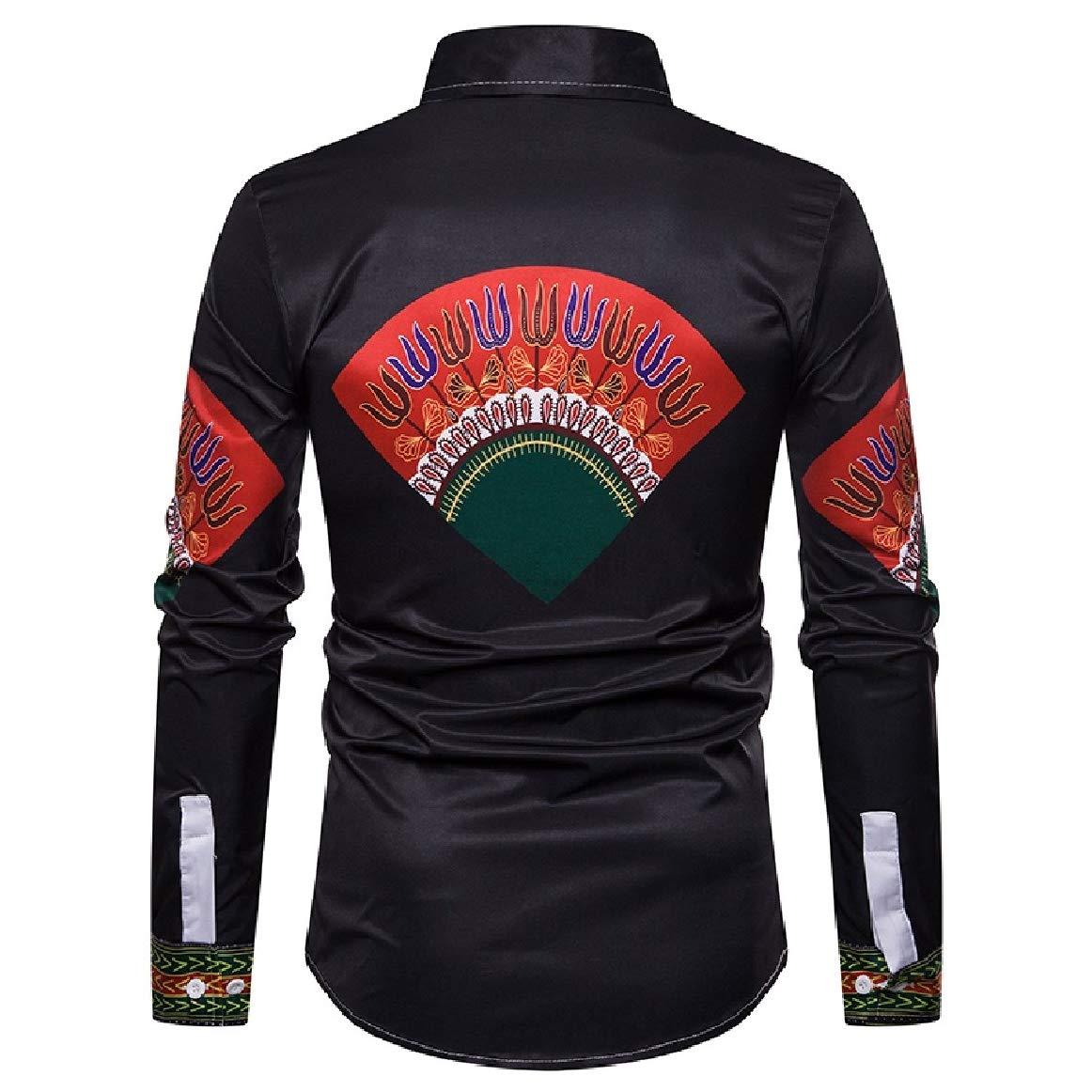 RomantcMen Trible African Dashiki Long-Sleeve Printed Western Shirt