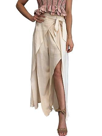 943fd54d47 BerryGo Women's Casual High Waist Wide Leg Split Pants Solid-Beige-S