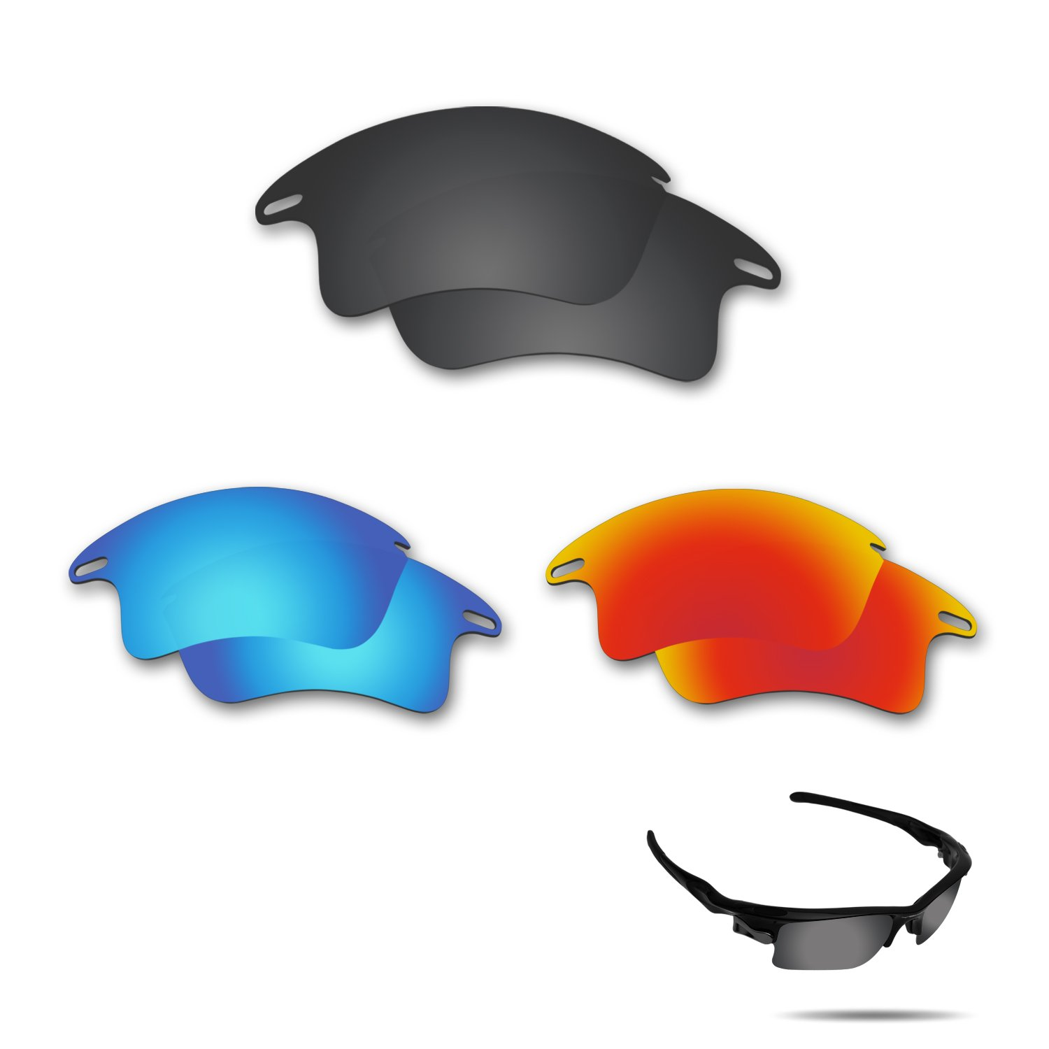 25b25b6c885 Amazon.com   Fiskr Anti-Saltwater Polarized Replacement Lenses for Oakley  Fast Jacket XL Sunglasses 3 Pair Pack   Sports   Outdoors