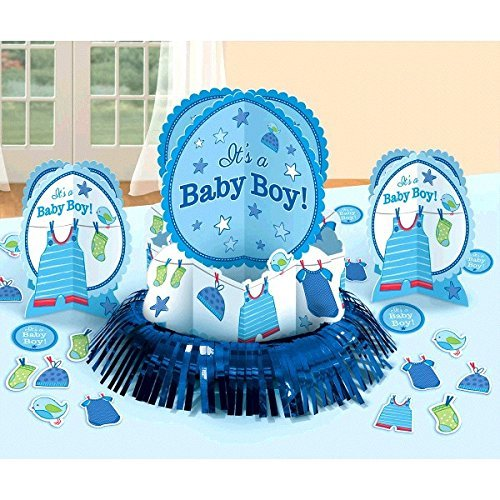 Shower with Love Boy ( It's a Baby Boy ) Blue Boy Baby Shower Party Table Decoration Kit Party Supply 23 PCS - Baby Shower and Party Supplies Decoration]()