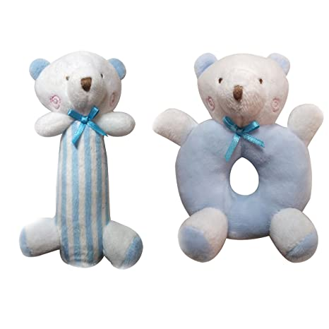 Yeahibaby Sonajero para bebés Peluches felpa Recién nacidos Cuna Juguete Anillo redondo Conejos Conejito Regalos únicos para duchas (Azul)