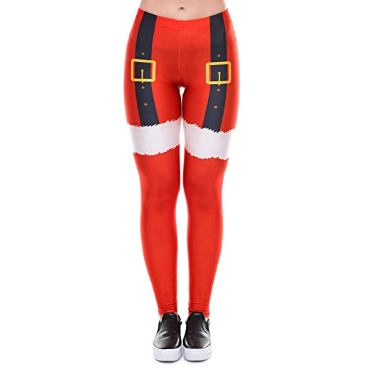6e2fbe1c0a2 Twotwowin Women Christmas Leggings Workout Footless Yoga Stretchy Pants  Casual Printed Funny Costume Tights (Christmas