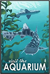 Visit the Aquarium - Leopard Shark (24x36 Framed Gallery Wrapped Stretched Canvas)