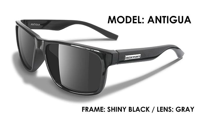 8727f24b3b NEWPORT POLARIZED Sunglasses ANTIGUA Shiny Black Polarized Grey Lens