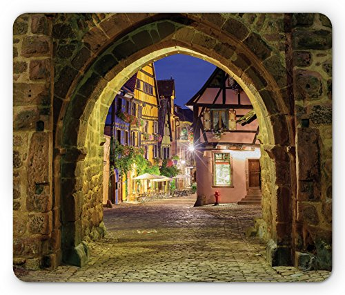 Cityscape Mouse Pad by Lunarable, Riquewihr Alsace View France through City Wall Gate at Night Historical Town Picture, Standard Size Rectangle Non-Slip Rubber Mousepad, (Alsace Wall)