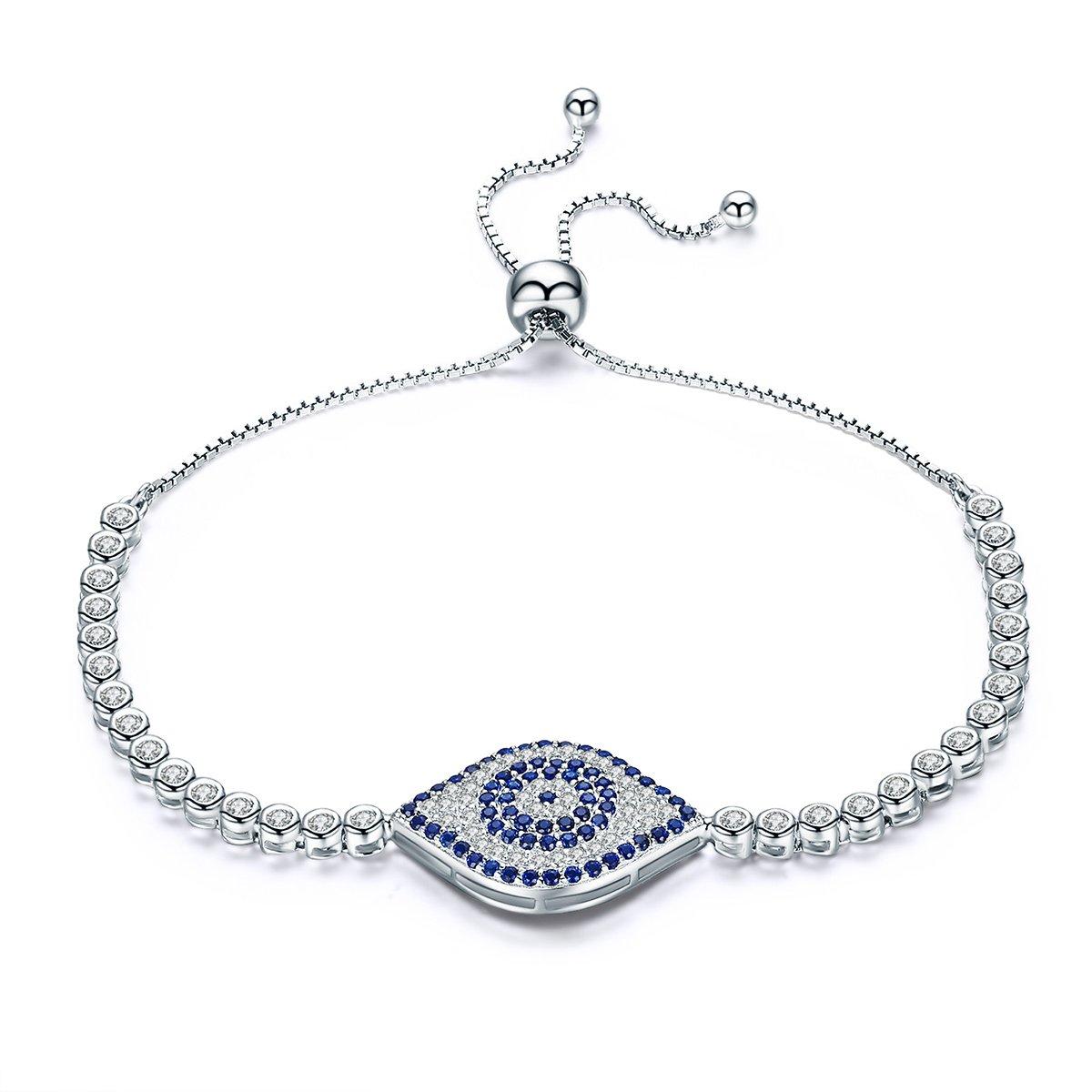 WOSTU Delicate Platinum Plated Sterling Silver Evil Eye CZ Link Tennis Bracelets Adjustable for Women