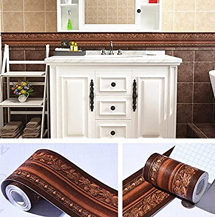 BESTERY 3D Pattern Self Adhesive Floral Molding PVC Wallpaper Border Home Deco Dark Brown