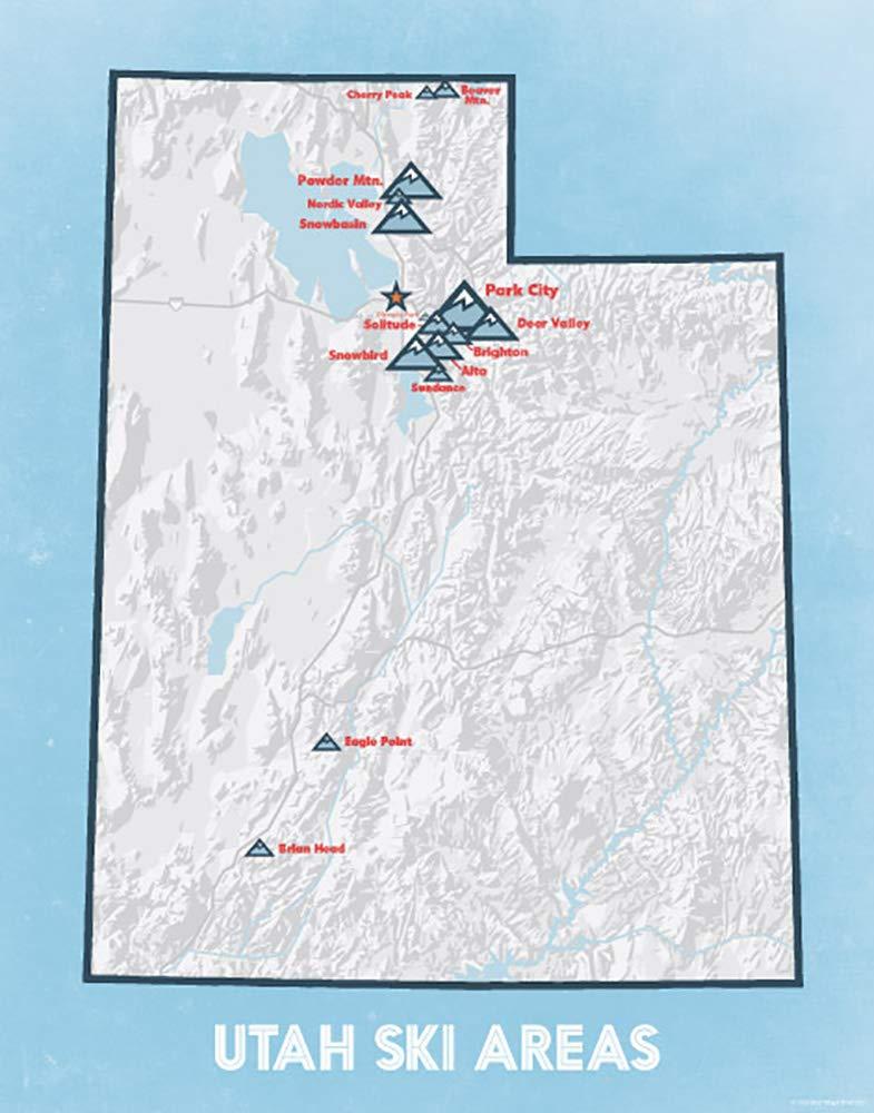 Brighton Utah Map.Amazon Com Utah Ski Resorts Map 11x14 Print White Light Blue