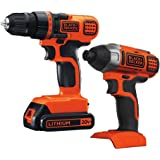 BLACK+DECKER LDX120C 20-Volt MAX Lithium-Ion Cordless Drill/Driver (2-Pack Drill drive/impact combo kit)