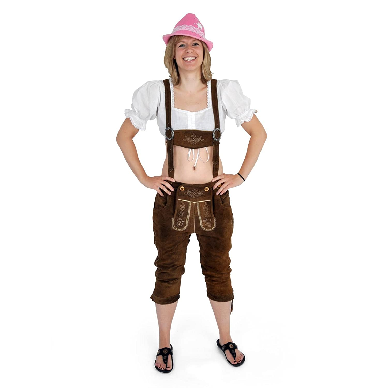 Lederhose Damen, Dreiviertelhose, stilechte Trachtenhose aus reinem Leder mit Stickerei, braun