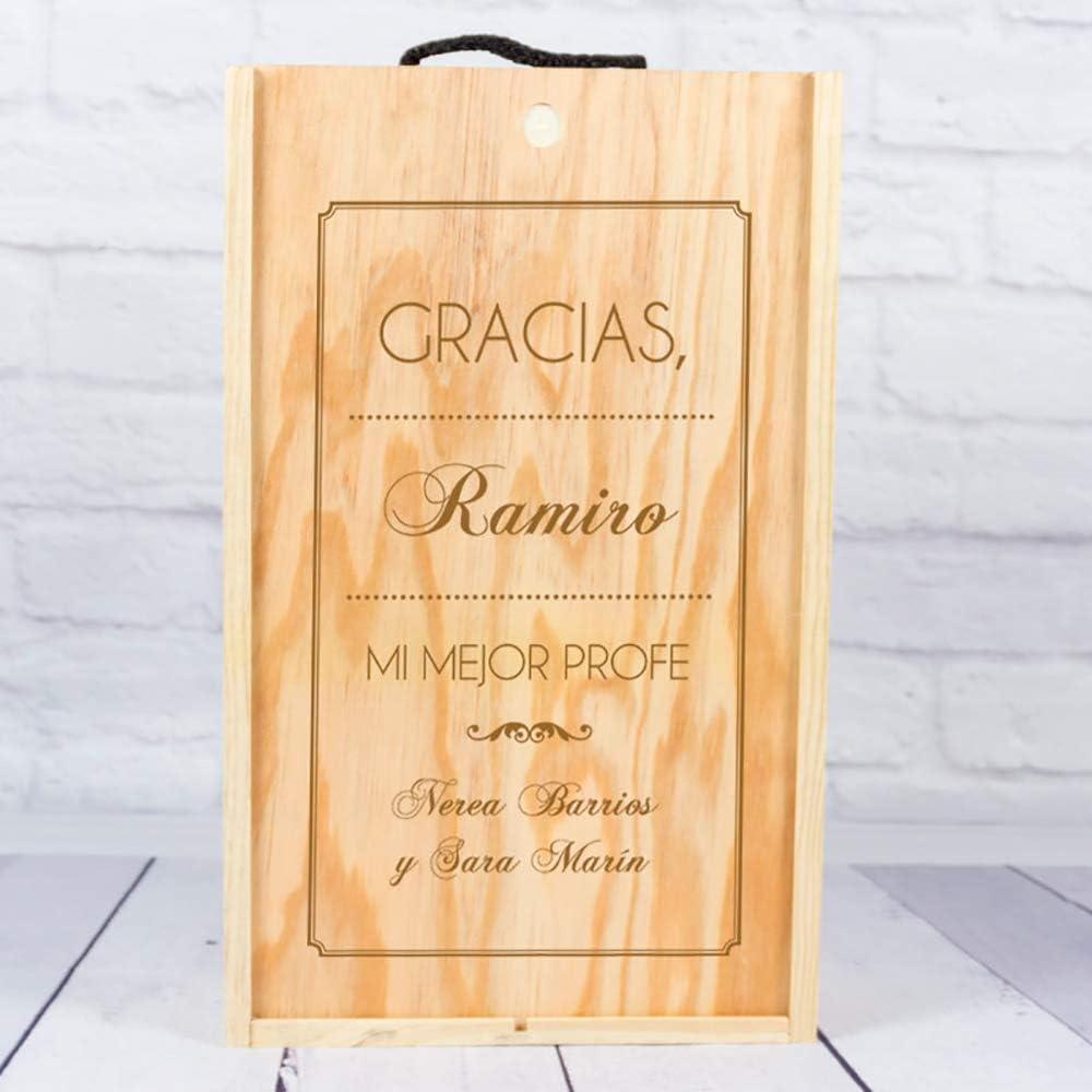Regalo Personalizado de Fin de Curso: Botella de Vino con Etiqueta Personalizada para Profesores (Caja Madera 2 Botellas): Amazon.es: Hogar