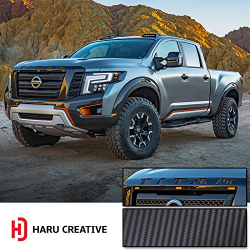 Haru Creative - Front Hood Grille Emblem Letter Insert Overlay Vinyl Decal Sticker Compatible with and Fits Nissan Titan XD 2016 2017 2018 - Carbon Fiber Black