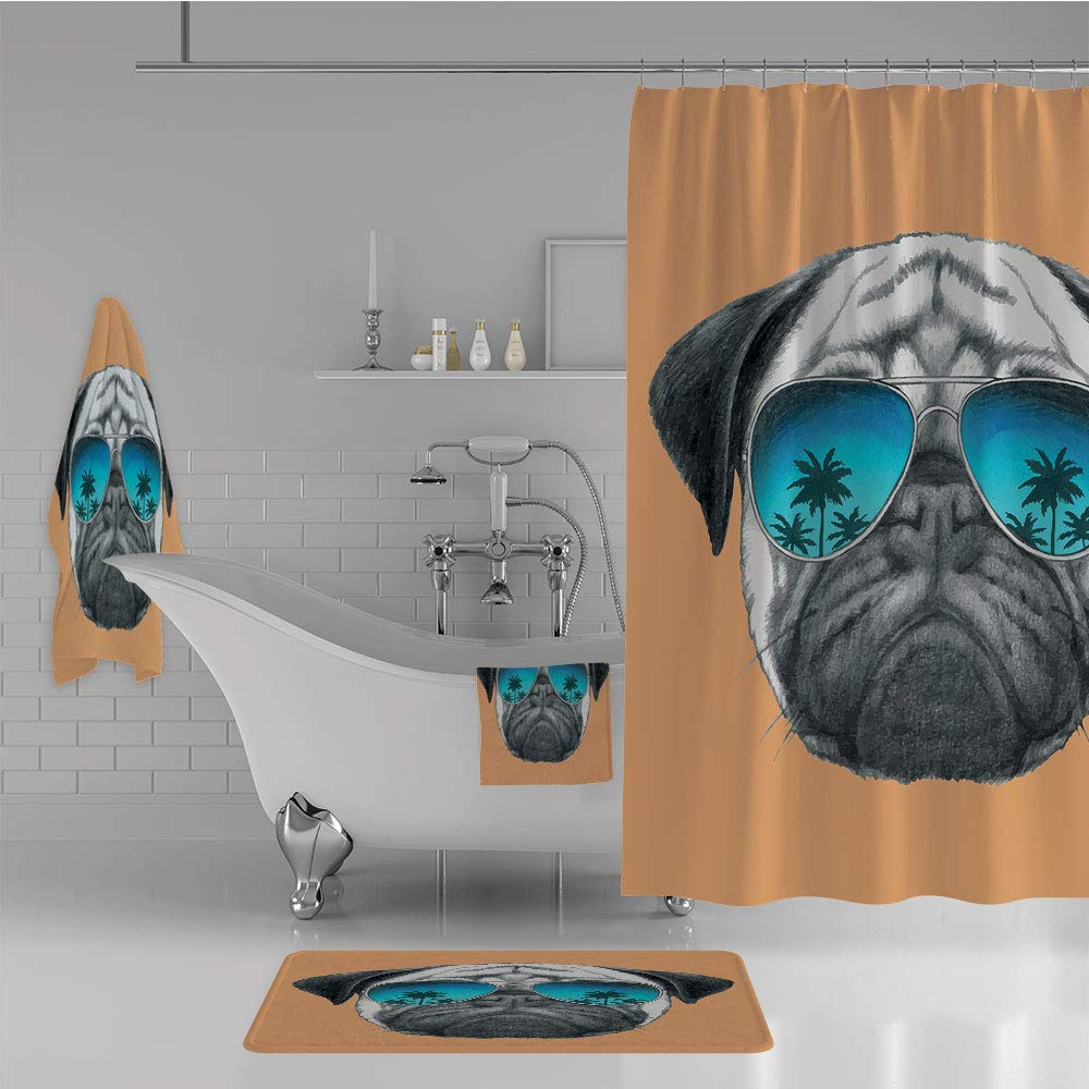 iPrint Bathroom 4 Piece Set Shower Curtain Floor mat Bath Towel 3D Print,Palm Trees Tropical Environment Cool Pet Animal,Fashion Personality Customization adds Color to Your Bathroom.