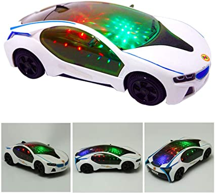 Baby Kids Amusing Electric Racing Car Toy LED Flashing Automatic Car Toys Gift