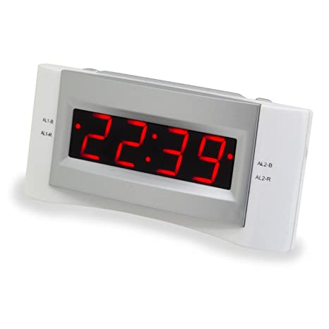 Soundmaster UR122WE Reloj Digital Gris, Color Blanco - Radio (Reloj, Digital, FM