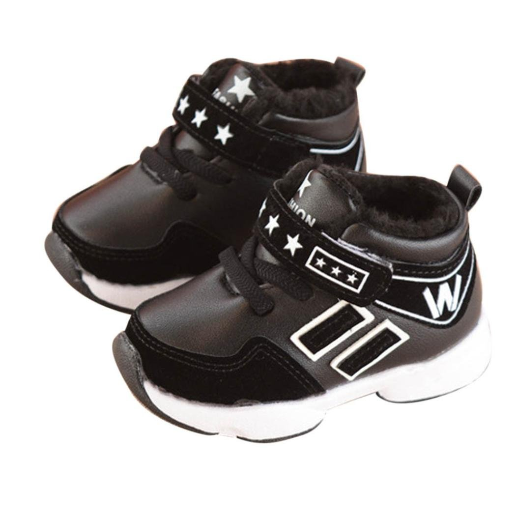 Voberry Toddler Kids Boys Girls Rubber Soled Sneakers Baby Lace up Sports Shoes