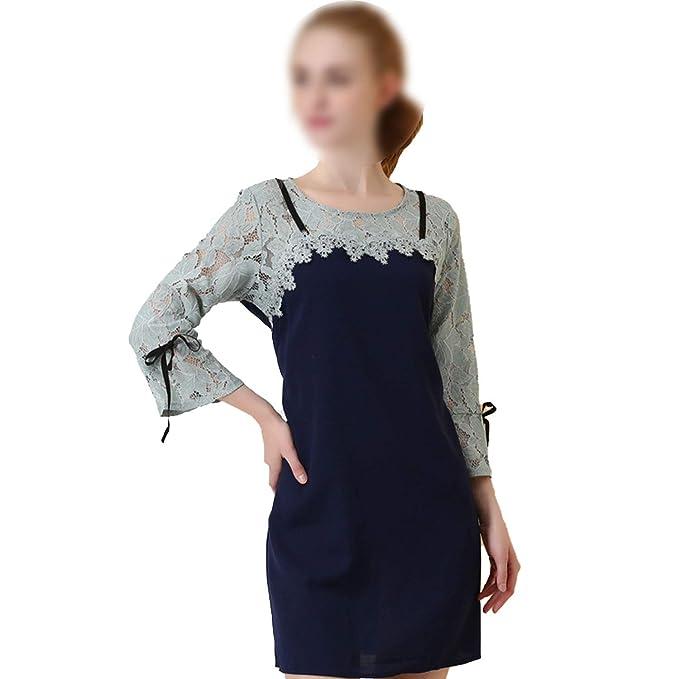 54e30e7eebf Colorpanda dress 2018 Early Autumn New Large Size Women s European and  American lace Stitching Retro Dress