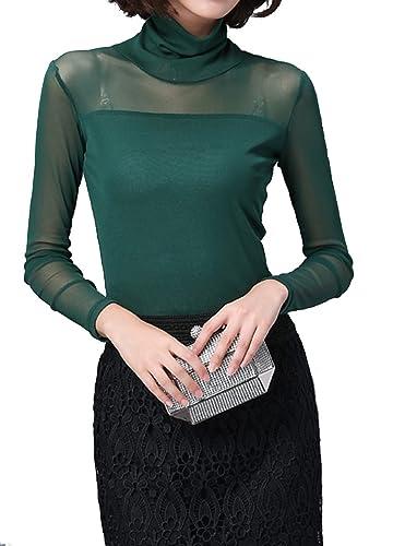 Helan Mujeres Clasico color puro de gran collar de la blusa camisa de la tapa