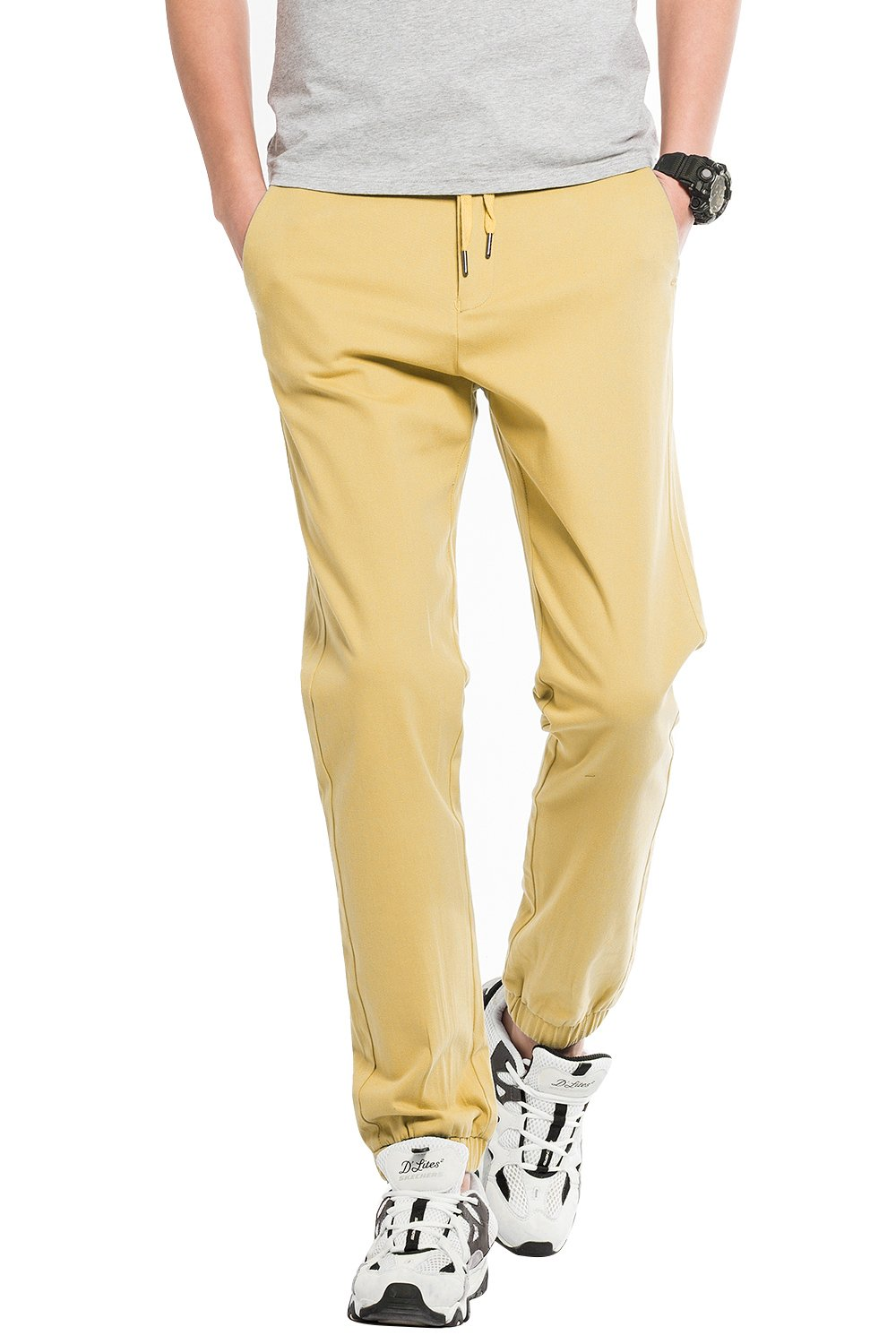 Basic Comfy Tapered Jogger Pants for Mens Lightweight Sports Jogging Slack for Youth Junior Yellow US Size M