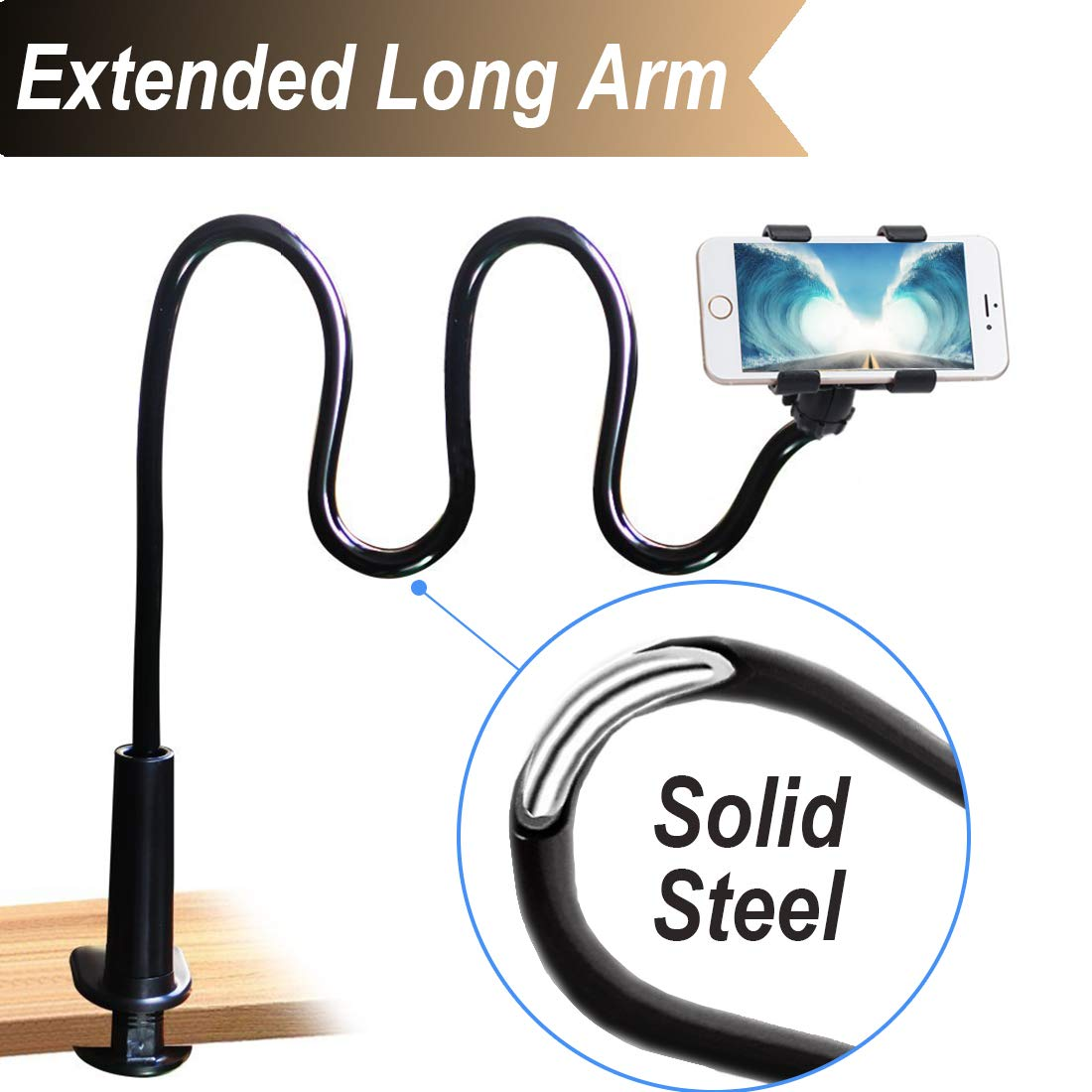 Cell Phone Clip On Stand Holder with Grip Flexible Long Arm Gooseneck Bracket Mount Clamp Compatible with iPhone X/8/7/6/6S Plus Samsung S8/S7, Used for Bed, Desktop, Black by Naham