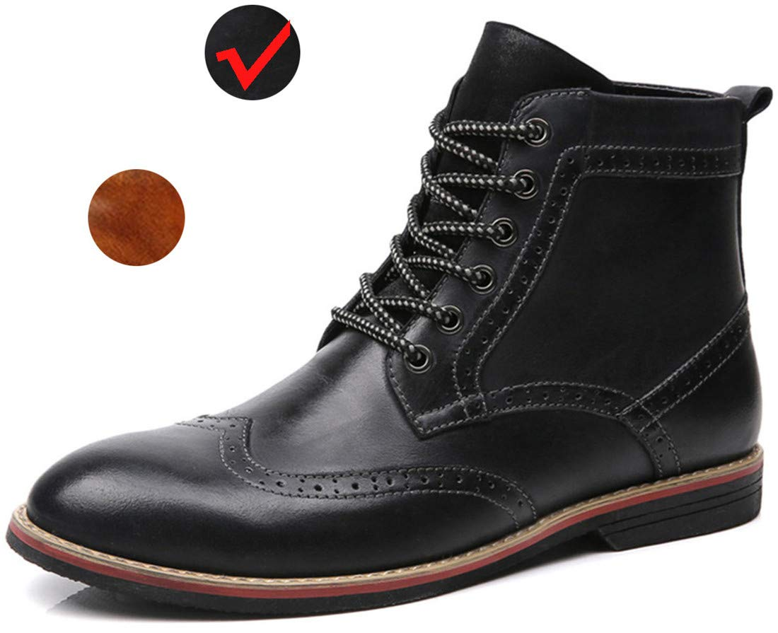 LSGEGO Men's Retro Leather Oxford Boots Lace Up Brogue Casual Moccasins Shoes for Men Dress Ankle Boots Black by LSGEGO