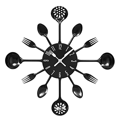 Cubiertos Wall Clock Red Black And White Cutlery Metal Awesome Design (Black)