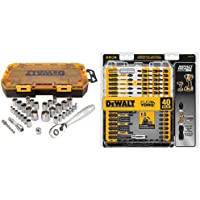 $26 » DEWALT (DWMT73804) Socket Set, 3/8-Inch Drive, SAE/Metric, 34-Piece & Screwdriver Bit Set,…