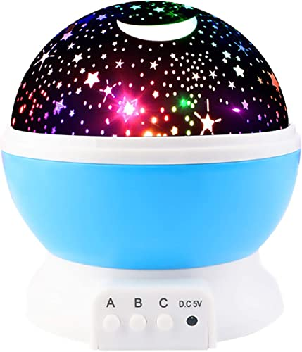 Yiliaw Stars and Moon Projection lamp, 8 Light Color Changing Night Light Projector,with USB Cable 360 Degree Romantic Room Rotating Star Projector for Baby Kid Children Bedroom Decor Blue
