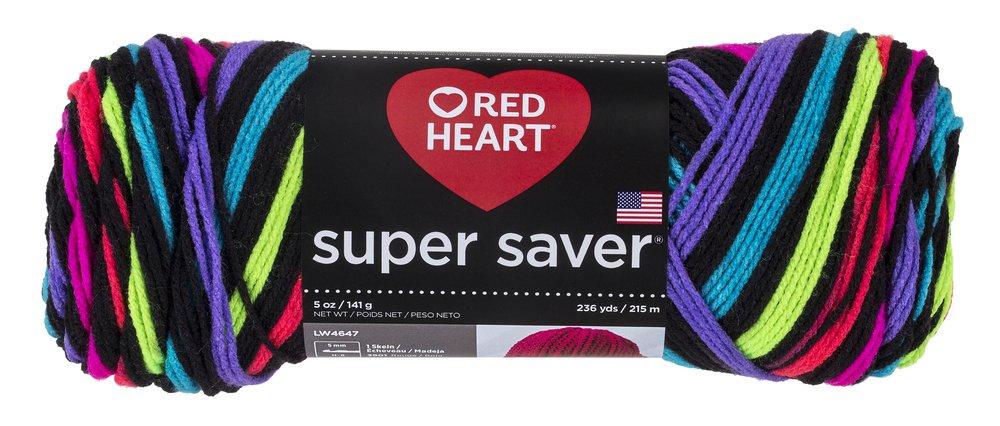 RED HEART Super Saver Yarn, Neon Stripes