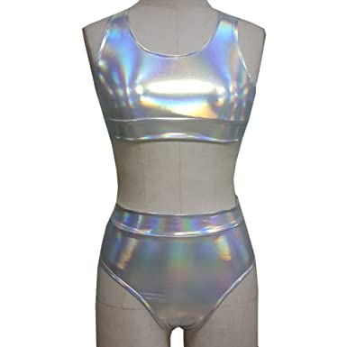 7467fb0b502 Amazon.com: Pinda Silver Holographic High Waisted Bikini Two Piece Set  Swimsuits (XL, Silver): Clothing