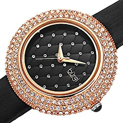 Swarovski Crystals & Satin Leather Strap Watch