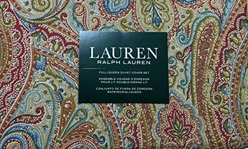 Ralph Lauren 3 Piece Full/Queen Duvet Cover Set - Floral Paisley Pattern in Deep Red, Olive Green, Blue, Light Blue, Tan and Golden Mustard Yellow - 100% Cotton