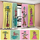 Littletonhome Nursery Patterned Drape For Glass Door Vintage Children Banner Set Animals Safari Palm Tree Flowers Princess Mushroom Waterproof Window Curtain Multicolor