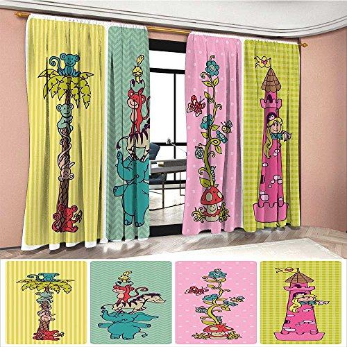 Littletonhome Nursery Patterned Drape For Glass Door Vintage Children Banner Set Animals Safari Palm Tree Flowers Princess Mushroom Waterproof Window Curtain Multicolor by Littletonhome