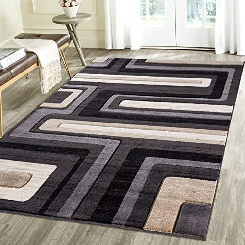 Contemporary Lined Geometric Emerald Collection Carved Area Rug