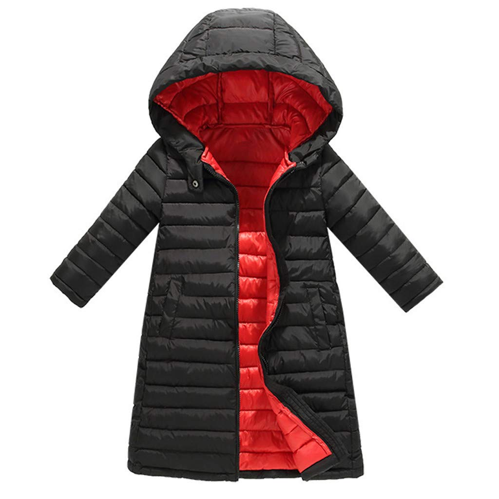 Fashionhe Toddler Baby Jacket Winter Cartoon Windproof Coat Hooded Warm Outwear Soild Color Overcoat(Black.130) by Fashionhe