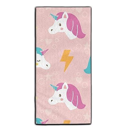 Bonita toalla de mano absorbente de poliéster supersuave de unicornios, toalla de terciopelo para el