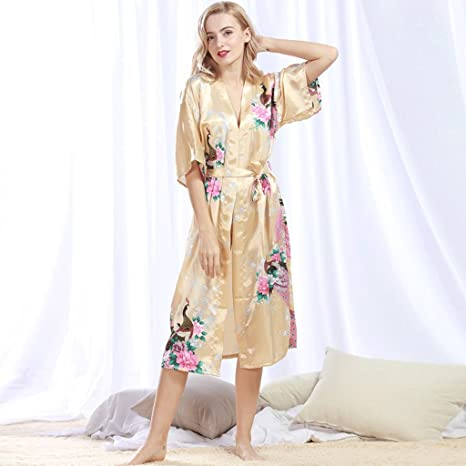 Albornoces ZLR Seda y otoño de Seda de Mujer Sexy camisón Largo Pijama Verano Batas de