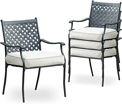Amazon Com Top Space 4 Piece Metal Outdoor Wrought Iron Patio Furniture Dinning Chairs Set With Arms And Seat Cushions Pc White Garden