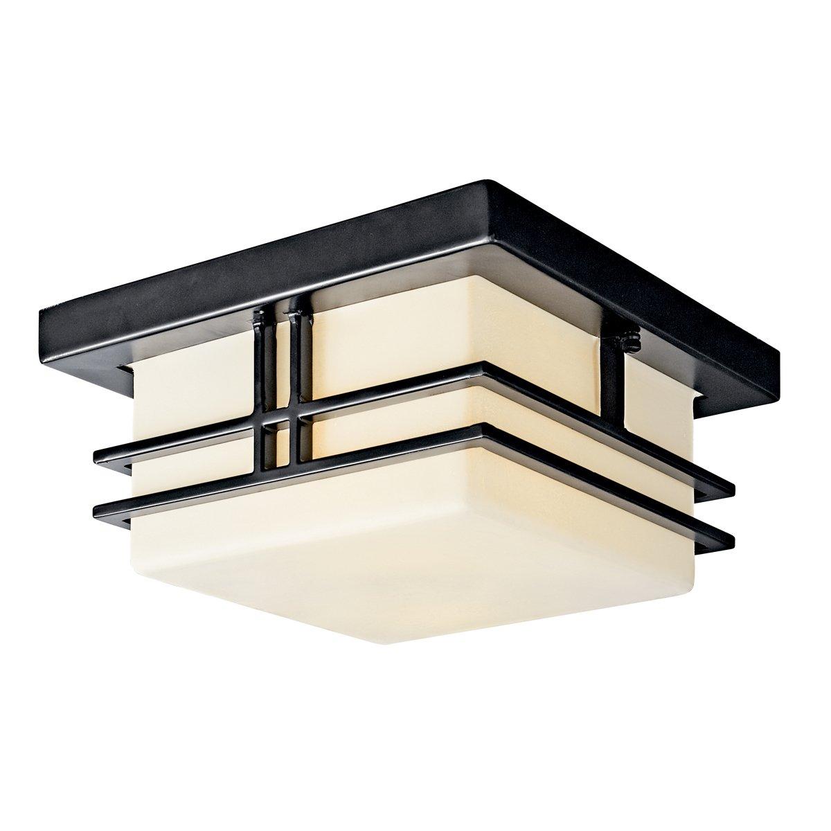 Kichler Lighting 49206BKFL Tremillo 2LT CFL Outdoor Flush Mount, Black with Satin-Etched Cased Opal Glass by Kichler B003F1J50M