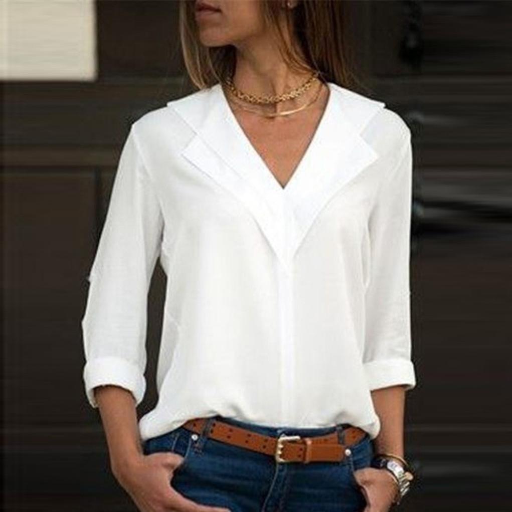 JURTEE Damen Herbst Oberteile Mode Chiffon Solide T-Shirt B/üro Einfach Rollenh/ülle Bluse Tops