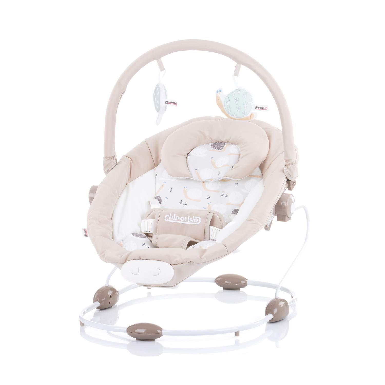 Farbe:hellbraun Musikfunktion und Vibration Chipolino Babywippe Siesta Lautst/ärke einstellbar