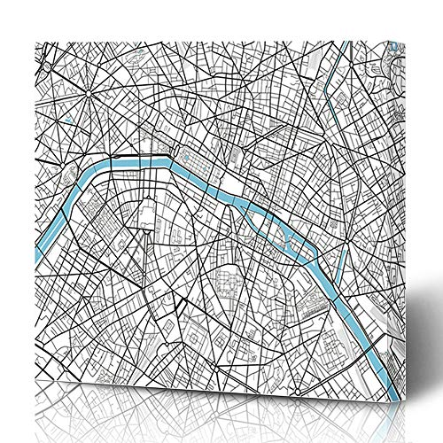 Ahawoso Canvas Prints Wall Art 18x18 Inches Vintage Black White City Map Paris Artistic Abstract Arc Triomphe Cartography Drawing Design Line Wooden Frame Printing Home Living Room Office Bedroom