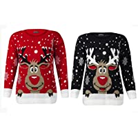 Rimi Hanger Womens Knitted Rudolph Reindeer Jumper Unisex Christmas Party Wear Sweater Top S/4XL