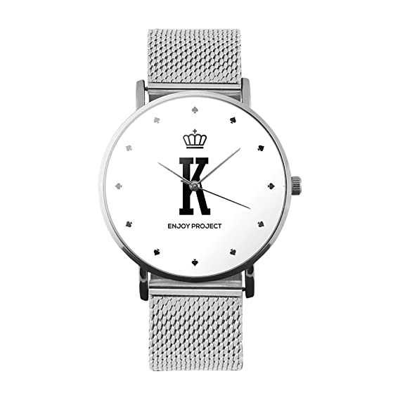 Reloj de pulsera para hombre Mujer Enjoy Project Impresión K King Re Poker Corona Juegos Total Silver Caja Correa Camiseta Milano acero plateado analógica ...